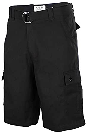 One Tough Brand Men's Cotton Twill Belted Cargo Shorts-Black-30