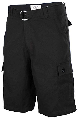One Tough Brand Men's Cotton Twill Belted Cargo Shorts-Black-34