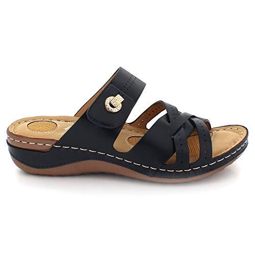 Mujer Punta De Azul Sandalias Marino Verano Ponerse Ligero Abierta Día Señoras Comodidad Cuña Tamaño Casual Zapatos Tacón Cada 5raq5xzwg
