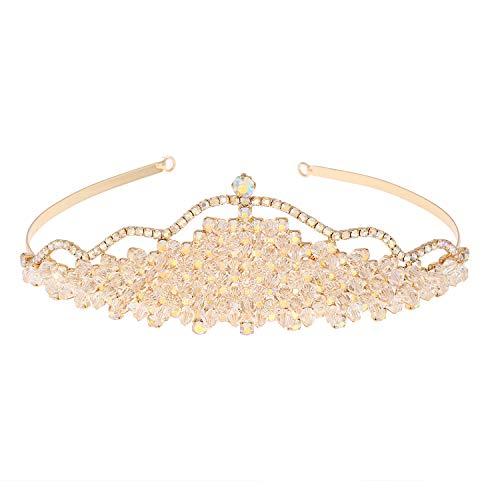 Topwholesalejewel Wedding Jewelry Gold Plating Aurora Borealis Stone Princess Tiara -
