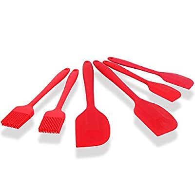 ForPeak Silicone Spatula Basting Brushes Set of 6 - Heat Resistant Pastry BBQ Brushes Kitchen Utensil Dishwasher Safe Soft and Flexible (Cherry Red)