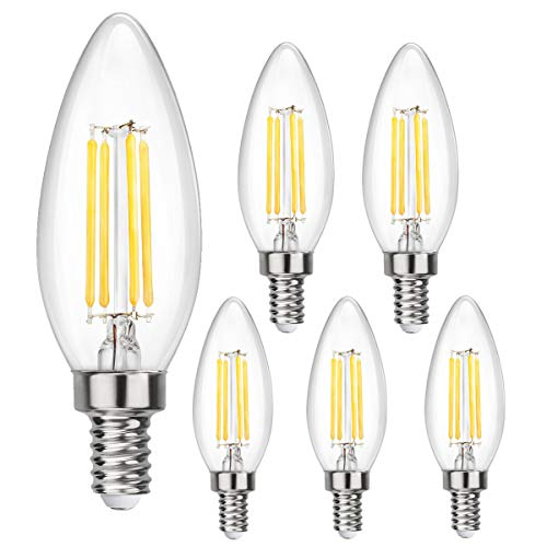 LED Candelabra Light Bulb 4W E12 Teardrop Light Bulbs Dimmable 4500k Daylight Filament Candle Bulb for Indoor Lamp, Chandelier, Ceiling Fan or Outdoor Porch Lights Pack of 6