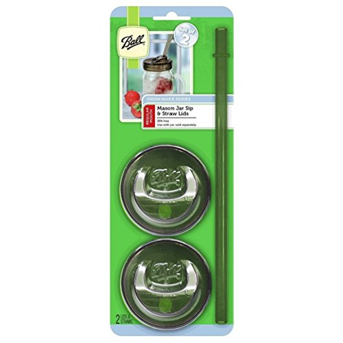 Ball Sip & Straw Lids, Fits Regular Mouth Mason Jars (2 Lids and 2 Straws)