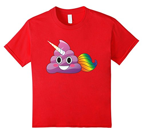 Kids Cute Magical Unicorn Poop Emoji with Rainbow Tail T-...