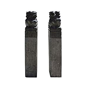 Chinese Pair Black Gray Stone Fengshui Foo Dogs Tall Slim Pole Statues Acs4242