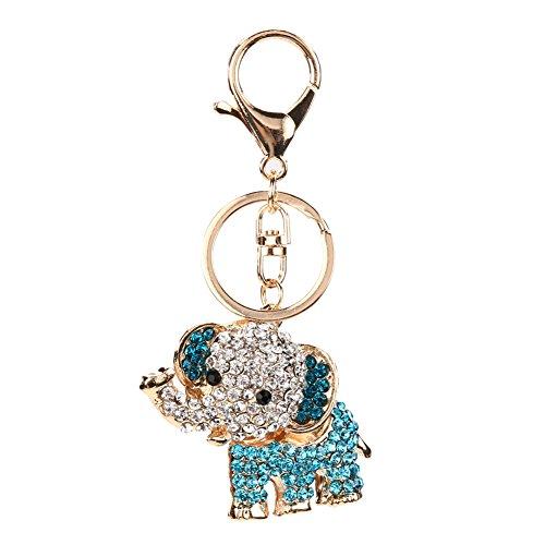 GigaMax Crystal Lucky Elephant Keychain Car Bag Cute key chain Accessories Purse Bag Car Buckle Trendy Key Holder [ Blue ]