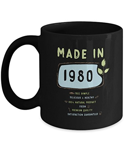 Funny Birthday Mug - Made in 1980 Free Sample Premium Quality - Home Office Coffee Cup Gift Idea -