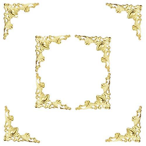 (Welldoit 48 pcs Vintage Style Pure Copper Box Corner Protector Guard Desk Edge Cover Corner Decorative (Gold))
