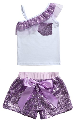 Cilucu Baby Girls Tees Toddlers Sequin Ruffles Cold Shoulder Tank Tops Purple 12 Months for $<!--$9.99-->