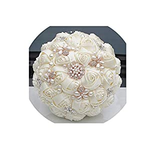 Gorgeous Crystal Ivory Wedding Bouquet Brooch Bowknot Wedding Decoration Artificial Flowers Bridal Bouquets Wedding,Ivory,21cm Diameter 107