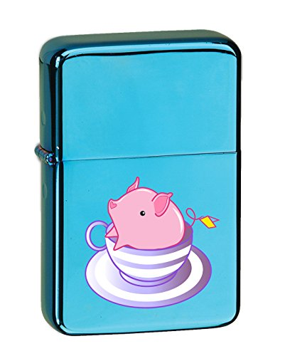 (Hat Shark Teacup Pig in A Striped Purple Teacup Cute and Adorable Vector KGM Thunderbird Vintage Lighter - Sparkle Blue Finish)