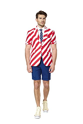 Mens 'SUMMER United Stripes' Party Suit and Tie by OppoSuits, 42 (Summer Suit)