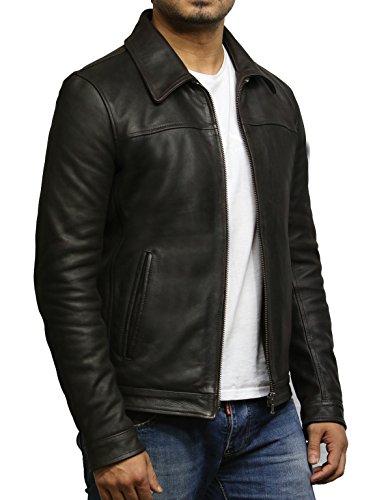 la de piel Jacket de de Brandslock Harrington Brando Marron marron vaca cuero hombres genuino 6EWBqW5wU