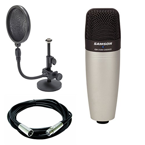 (Samson C01 Large Diaphragm Condenser Microphone + Mic stand and mic pop filter combo & Mic Cable, 20 ft. XLR Bulk)