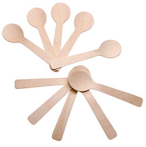 Price comparison product image Mini Skater 50 Pcs Round Disposable Wooden Spoons Small for Kitchen Ice Cream Dessert Cutlery Tableware