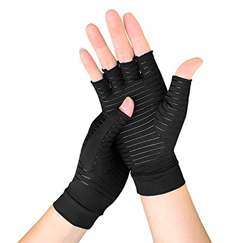 Cheap Copper Arthritis Gloves for Women/Men, Compression Gloves for Arthritis  Carpal Tunnel Pain  Muscle Tension Relief, Fingerless Gloves for Computer Typing and Daily Work (Large) copper glove