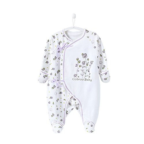 (COBROO Newborn Footies Pajamas with Mittens,Allover Roses Print One-Piece Sleeper,100% Cotton Side-Belt Infant Footed)