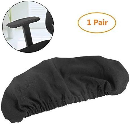 1 Par de Cubiertas Protectores Suaves Cubiertas de apoyabrazos Elásticos Lavables de Apoyabrazos Brazos de Sillas (Negro)