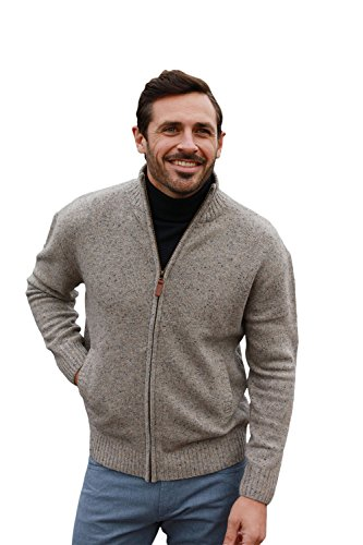 Aran Woollen Mills Lambswool/Nylon Men's Troyer Full Zip Sweater (Seashore, Large) ()