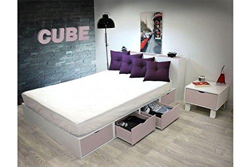 ABC MEUBLES - Bett 140 x 200 Boxen mit Schubladen - LITCUBLB - Violet Pastel, 140x200