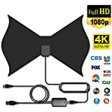Digital HDTV Antenna, INKERSCOOP Indoor TV Antenna 4K 1080P TV Powerful HDTV Antenna Amplifier Signal Booster 50-85 Miles TV Antenna with 13FT Coax Cable (Black, Butterfly)