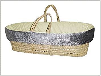BabyDoll Croco Minky Moses Basket Set, Grey/Sage 8100mb