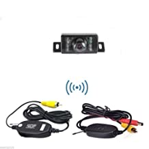 Pupug 2.4G Wireless Car License Mount Rear View Backup Camera 7 IR LED Night Vision with Transmitter & Receiver (Waterproof Ip67 / Color Cmos / 135 Degree Viewing Angle / Distance Scale Line)