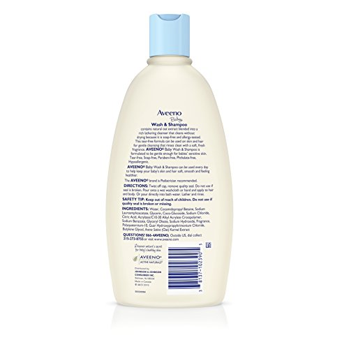 Large Product Image of Aveeno Baby Gentle Wash & Shampoo with Natural Oat Extract, Tear-Free &, Lightly Scented, 18 fl. oz