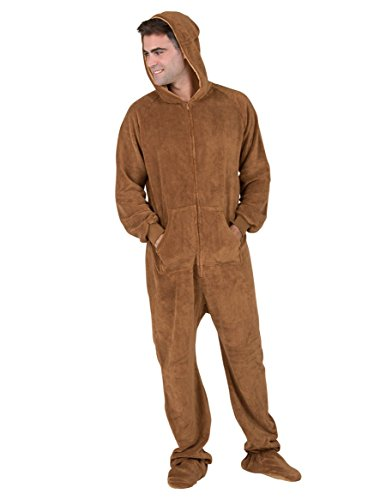 c1de6b13f9 Amazon.com  Footed Pajamas - Teddy Bear Adult Hoodie Chenille Onesie -  Extra Large  Clothing