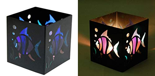 Square Tropical Fish Black Metal Tealight Candle Holder - 3