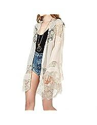 TopTie Women Vintage Kimono Cardigan Shawl Top Lace Crochet Jacket Tops Blouse-Beige-M