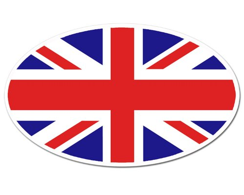 Jack Flag Stickers - OVAL Union Jack Flag Sticker (uk britain british london love england)
