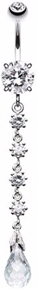 WildKlass Jewelry Opulent Crystalline Droplets 316L Surgical Steel Belly Button Ring