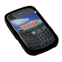Durable Flexible Soft Black Silicone Skin Case for Blackberry Bold 9000 Smartphone