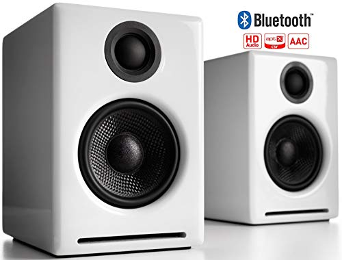 Audioengine A2+ Wireless 60W Powered Desktop Speakers, Bluetooth aptX Codec, Built-in 16Bit DAC and Amplifier (White)