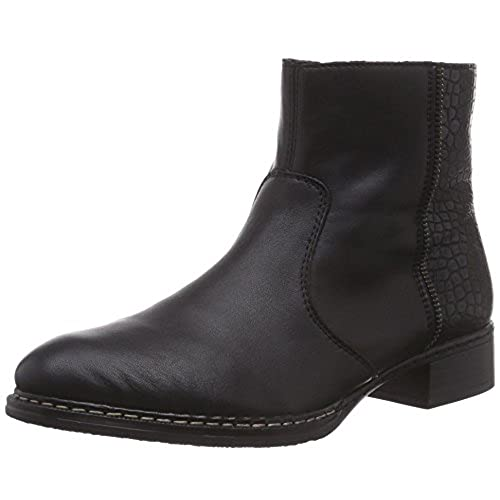 Ladies Rieker 73490 Black Or Brown Leather Zip Up Ankle Boots