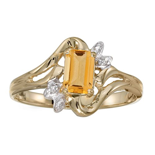 (FB Jewels 14k Yellow Gold Genuine Birthstone Solitaire Emerald-cut Citrine And Diamond Wedding Engagement Statement Ring - Size 7 (2/5 Cttw.))