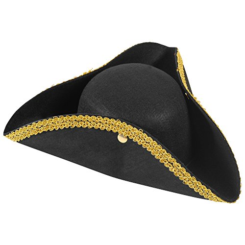 Tricorn Hat - Revolutionary War Colonial Pirate Tri corn Hats by Funny Party Hats (Captain Jack Sparrow Child Deluxe Costume)