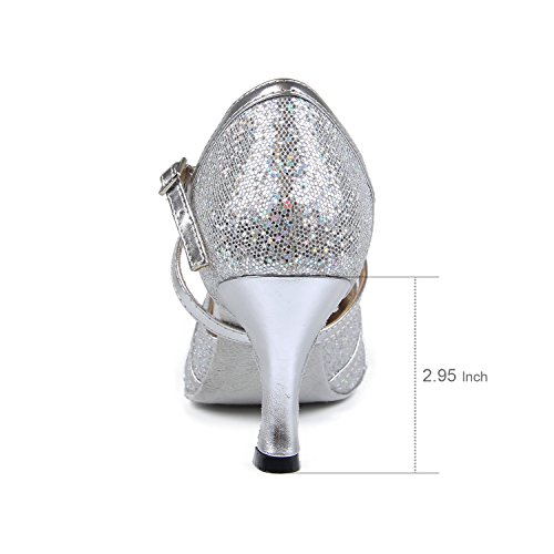 Waltz Dance Dancing Shoes Tango Salsa 7 Silver Heel Women's Sandals 5cm Ballroom Latin Shoes High Party Indoor Heel Social Syrads Dancing 7Oq6w7