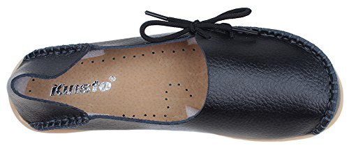 kunsto womens leather casual loafer shoes