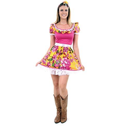 Fantasia Caipira Rosinha Pink Adulto 60220-g Sulamericana Fantasias Pink/amarelo G 46/48