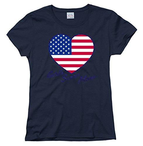 Heart Support Shirts - USA Navy Womens Glitter Heart World Cup Soccer T-Shirt XX-Large