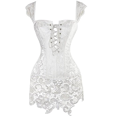 Lace Plus Size Bustier - Miracle Women Steampunk Corset Dress White Faux Leather Sexy Plus Size Bustier Lingerie with Lace Skirt 5XL Halloween Costumes