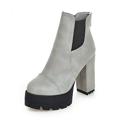 WeenFashion Women's Zipper Round Toe Pu Zipper High-Heels Low-Top Solid Boots, Lightgray-Platform, - Girl Boots Platform Spice