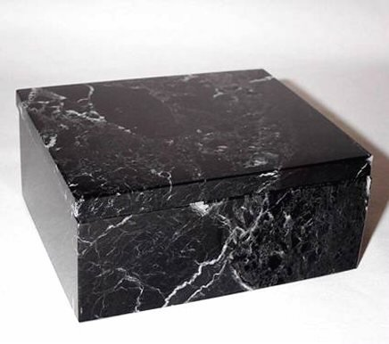 Khan Imports Black Marble Stone Pet Cremation Urn Box for Cat, Dog or Small Pets Ashes - Up to 14 Pounds ()