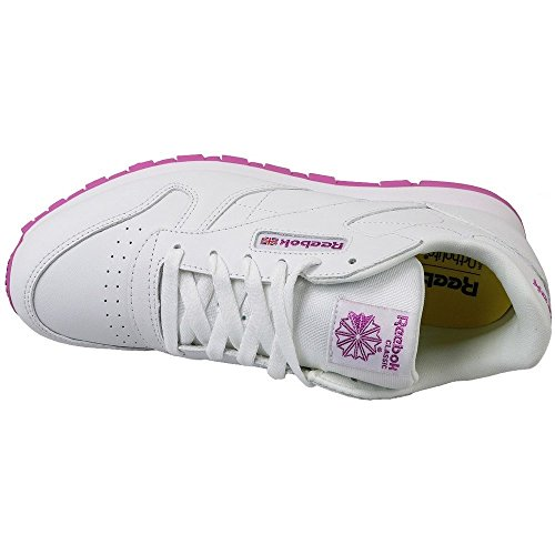 Reebok Classic Leather, Zapatillas de Running para Niñas Blanco (Lurex White / Pink Frenzy)
