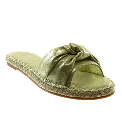 Angkorly Damen Schuhe Sandalen Mule - Slip-On - Knoten - Seil - Glänzende Blockabsatz 2 cm Grüne