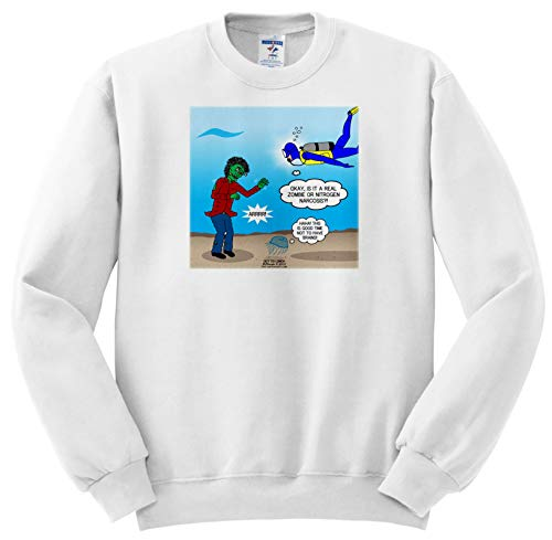 (3dRose Rich Diesslins Funny Out to Lunch Cartoons - Underwater Zombie or Scuba Diver Nitrogen Narcosis - Sweatshirts - Youth Sweatshirt XS(2-4))