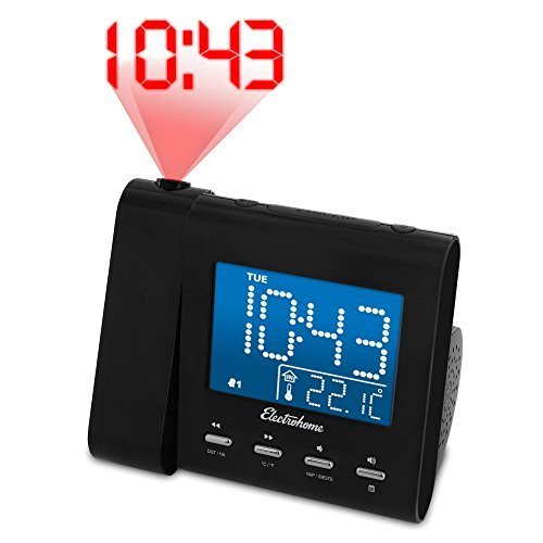 Electrohome EAAC601 Projection Alarm Clock with AM/FM Radio, Battery Backup, Auto Time Set, Dual Alarm, Nap/Sleep Timer, Indoor Temperature/Day/Date Display with Dimming, 3.5mm Audio Connection by Electrohome