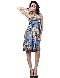 3999322f6a7bb Womens Tube Top Beach Dress Sleeveless Printing Bikini Swimsuit Cover Up